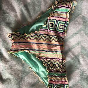Other - Ruched tribal print bikini bottoms